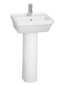 S50 Square Cloakroom Washbasin 45cm With Pedestal 5308L003-0999