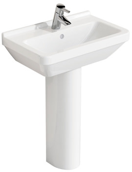 Related Vitra S50 Compact Basin 60x37cm With Full Pedestal - 5342L003-0999