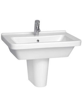 S50 Square Washbasin 65cm With Full Pedestal - 5311L003-0999