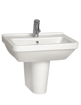S50 Square Washbasin 55cm With Full Pedestal - 5309L003-0999