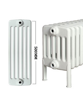 Roma Horizontal 6 Column Steel Radiator With Feets 500mm Height