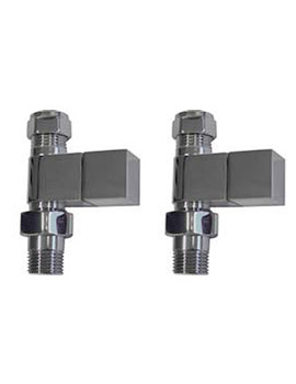 Essential Square Straight Towel Warmer Valve Pair 15mm - 148990