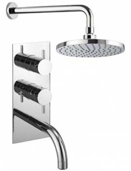 Kai Lever Thermostatic Valve With Spout And Wall Shower Head