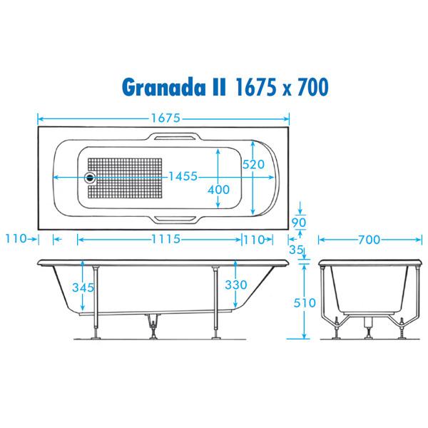 Trojan Granada Ii Twin Grip 8mm Single Ended Bath 1675x700mm
