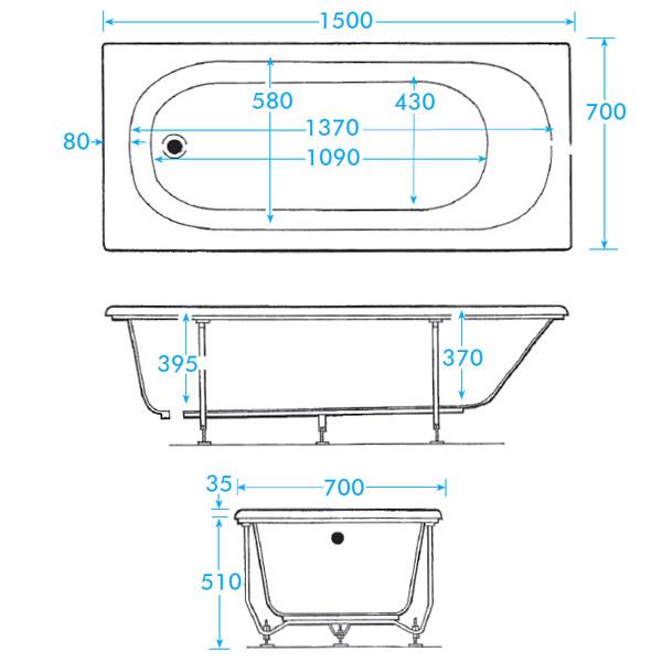 Standard Bathtub Dimensions Trojan cascade white standard