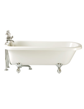 Perth 1650 x 720mm Single Ended Roll Top Bath With Feet