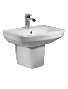 Vibe 1 TH Ceramic Basin 550mm With Semi Pedestal - SB700S