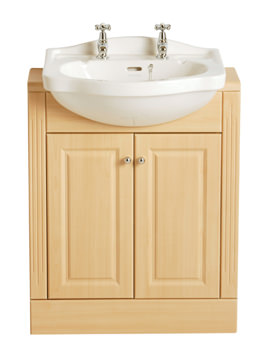 Rhyland Semi-Recessed 590mm 2 Taphole Basin - PRHW36
