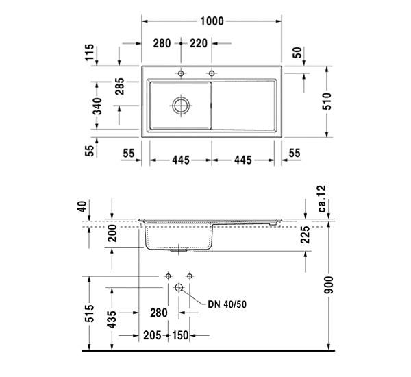 Duravit Kiora 60 Xl Built In 1000x510mm Kitchen Sink