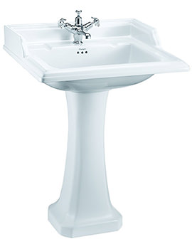 Burlington Classic 1 Tap Hole 650 x 575mm Basin And Pedestal - B15 - P6