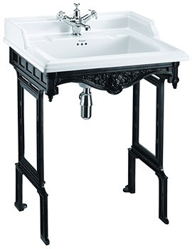 Burlington Classic Basin With Black Aluminium Wash Stand - B15 - T48BLA