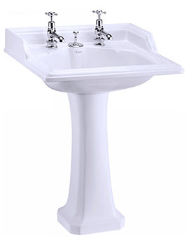 Classic Basin With Invisible Overflow And Waste And Pedestal