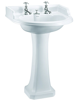 Round Classic Basin For Invisible Overflow Waste With Regal Pedestal