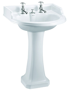 Round Classic Basin For Invisible Overflow And Waste With Pedestal