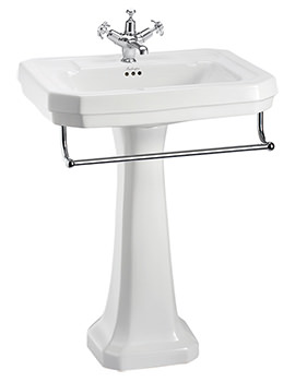 Victorian Large Basin With Regal Pedestal And Towel Rail