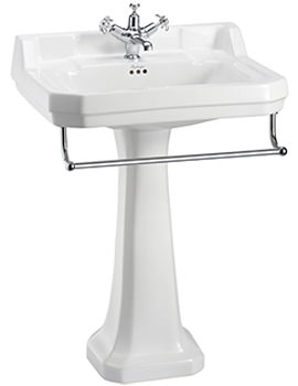 Edwardian 610mm Large Basin With Full Pedestal And Towel Rail