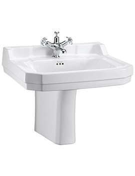 Edwardian 610mm Large Basin And Semi Pedestal - B5 1TH - P8