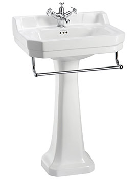 Edwardian 560mm Medium Basin With Pedestal And Towel Rail