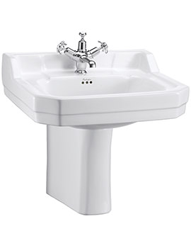 Edwardian 560mm Medium Basin And Semi Pedestal - B4 1TH - P8
