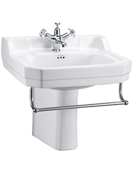 Edwardian 56cm Medium Basin With Semi Pedestal And Towel Rail