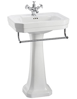 Victorian 560mm Medium Basin With Pedestal And Towel Rail