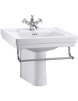 Burlington Contemporary Medium Basin With Semi Pedestal And Towel Rail