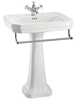 Victorian 610mm Large Basin With Full Pedestal And Towel Rail