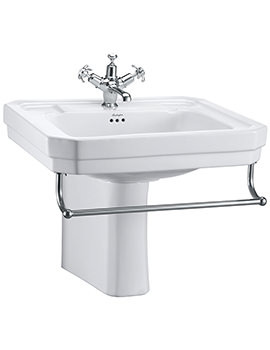 Victorian 610mm Large Basin With Semi Pedestal And Towel Rail