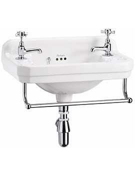 Edwardian Wall Mounted 510mm Cloakroom Basin And Towel Rail