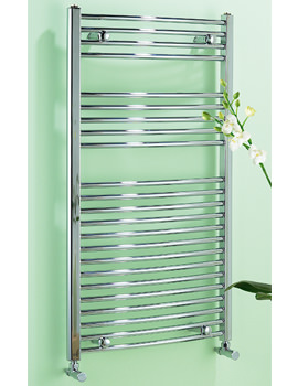 Dolomite Chrome Curved Heated Towel Rail 600 x 1100mm