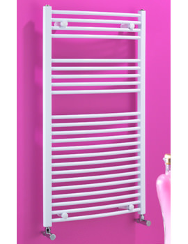 Dolomite White Curved Heated Towel Warmer 500 x 800mm