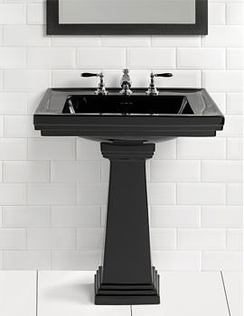 Astoria Deco Black 640mm Large Basin With Tall Pedestal