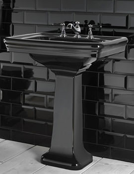 Etoile 700mm Large Basin With Pedestal Black - ET1LB11230