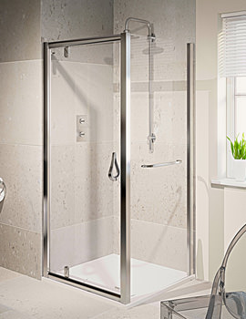 6 Pivot Shower Door Polished Silver 800mm