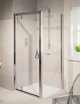 6 Pivot Shower Door Polished Silver 800mm