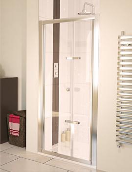 6 Bifold Polished Silver Frame Shower Door 760mm - Aqualux