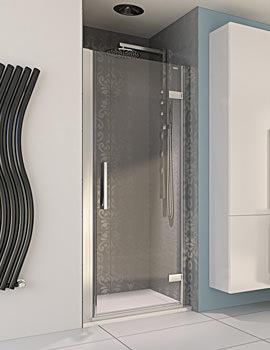 Aqua 8 Hinge Pivot Door Polished Silver 900mm - FEN1226AQU