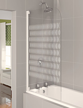 Aqua 4 Half Frame Bath Screen White Ribbon Glass - FBS0320AQU