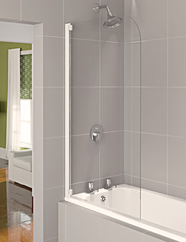 Aqualux Aqua 4 Half Frame Bath Screen White Clear Glass 800mm