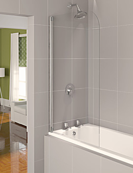 Aqua 4 Half Frame Bath Screen Polished Silver Clear Glass 800mm