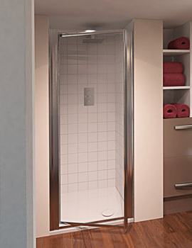 Aqua 4 Pivot Shower Door 900mm Polished Silver Clear Glass