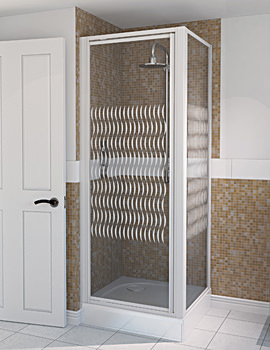 Aqualux Aqua 4 Pivot Shower Door 900mm White Ribbon Glass