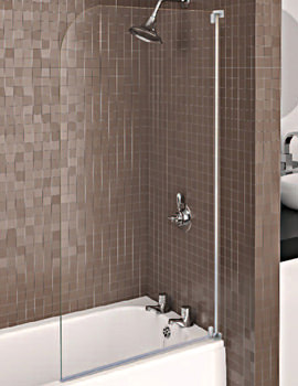 Aqualux Aqua 3 Half Framed Radius Bath Screen Grey - FS6460AQU