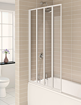 Aqua 4 White 4-Fold Bath Screen 840 x 1400mm - FBS0323AQU