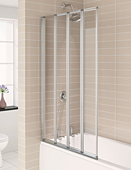 Aqua 4 Polished Silver 4-Fold Bath Screen 840 x 1400mm