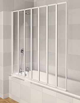 Aqua 4 White 7-Fold Bath Screen 1430 x 1400mm - FBS0325AQU