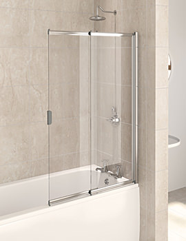 Aqua 4 Polished Silver 2-Panel Slider Bath Screen 820mm