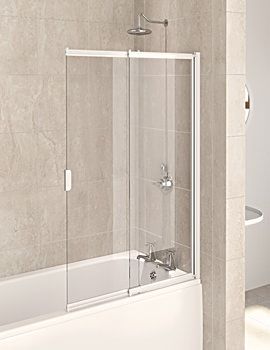 Aqua 4 White 2-Panel Slider Bath Screen 820mm - FBS0326AQU