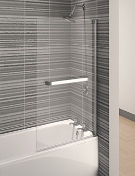 Aqua 4 Square Bath Screen 750mm Polished Silver - FBS0330AQU