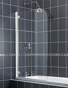 Aqualux Aqua 5 Radius Bath Screen 850mm With White Hinge - FS6130AQU